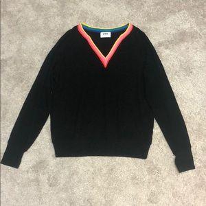 LNA Black v-neck sweater with rainbow neckline